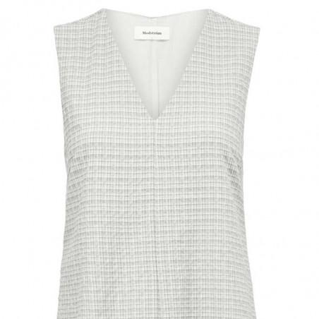 Modström Kjole, Jada, Off White, hverdagskjole, sommerkjole, kort kjole, festkjole - tæt på