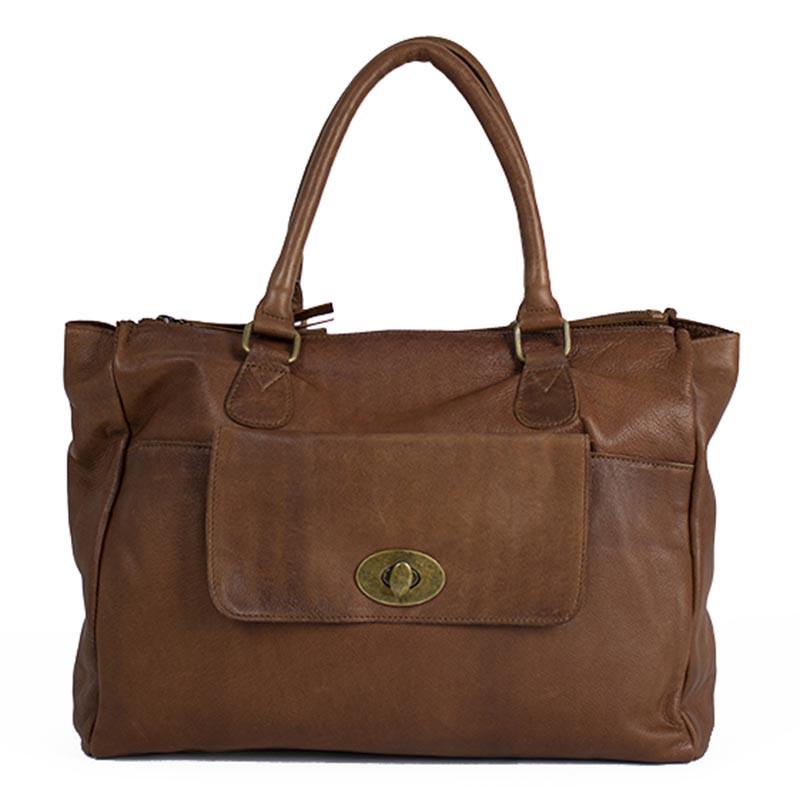 ReDesigned By Dixie Taske, Nilli, Walnut, skuldertaske, crossover taske, håndtaske, lædertaske, ReDesigned By Dixie Taske