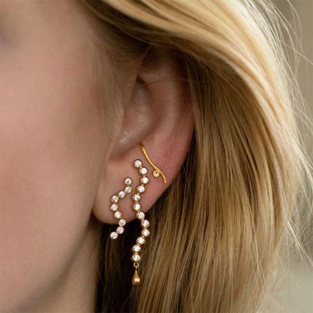 Stine A Ørering, Midnight Sparkle Small, Gold Left, øreringe i 18 karat guld - venstre