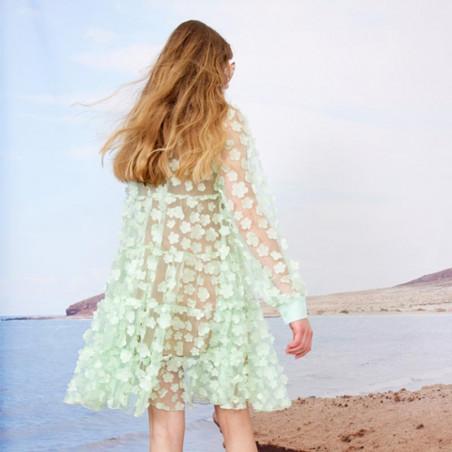 Hunkøn Kjole, Florentina Layer, Mint, sommerkjole, festkjole, skjortekjole, hverdagskjole - bagside