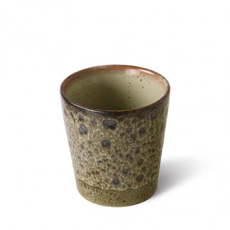 HK Living Krus, 70's Coffee Mugs, Sæt m/4 stk keramik krus meleret oliven grøn