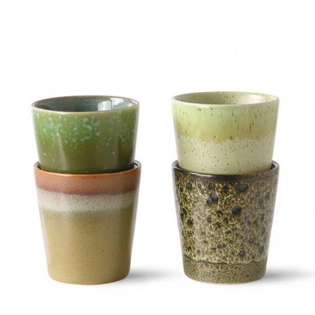 HK Living Krus, 70's Coffee Mugs, Sæt m/4 stk