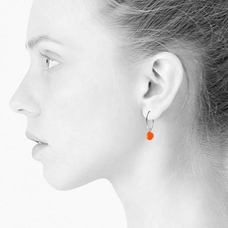 Scherning Øreringe, Spot, Neon Orange/Sølv Scherning smykker på model