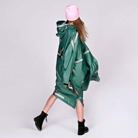 Rainkiss Regnjakke, Stray Pixel Poncho, Stray Pixel, regntøj, regnjakke, regnponcho - bagfra