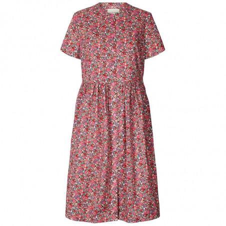 Lollys Laundry Kjole, Aliya, Pink Flower Print, sommerkjoler, hverdagskjoler