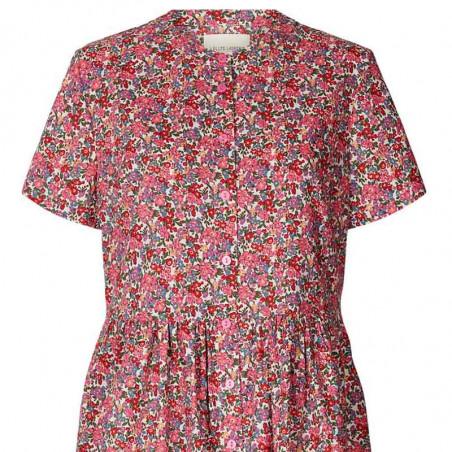 Lollys Laundry Kjole, Aliya, Pink Flower Print, sommerkjoler, hverdagskjoler - detalje