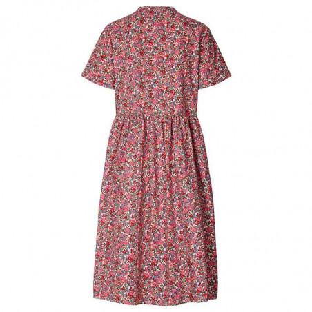 Lollys Laundry Kjole, Aliya, Pink Flower Print, sommerkjoler, hverdagskjoler - Bagside