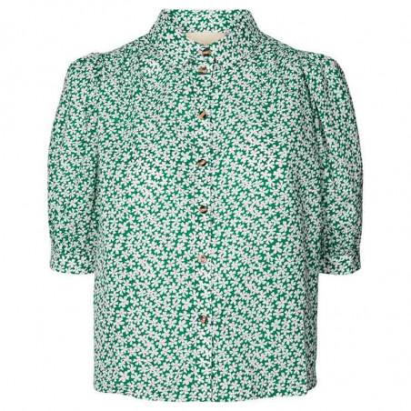 Lollys Laundry Skjorte, Zoe, Green, kortærmede skjore, skjorte med blomster, Lollys Laundry shirt Zoe