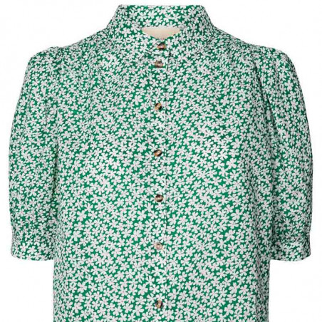 Lollys Laundry Skjorte, Zoe, Green, kortærmede skjore, skjorte med blomster, Lollys Laundry shirt Zoe - detalje