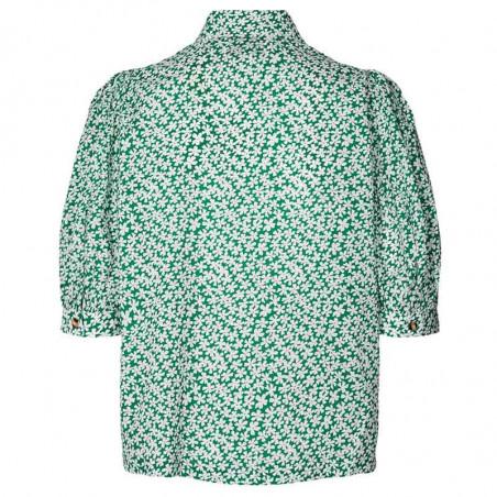 Lollys Laundry Skjorte, Zoe, Green, kortærmede skjore, skjorte med blomster, Lollys Laundry shirt Zoe - bagside