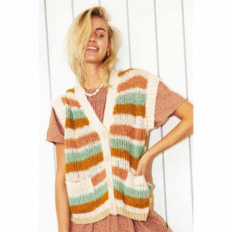 Lollys Laundry Vest, Celine, Creme, cardigan, strikvest - model