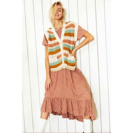 Lollys Laundry Vest, Celine, Creme, cardigan, strikvest - front