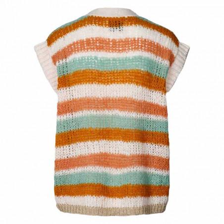 Lollys Laundry Vest, Celine, Creme, cardigan, strikvest - bagside