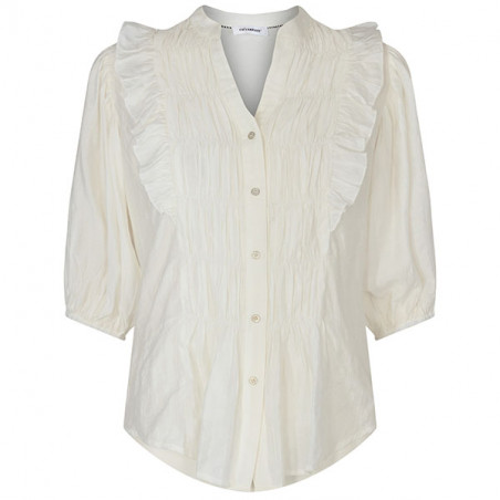 Co'Couture Bluse, Avery Smock, Off White, Co'couture Avery Smock Shirt, Skjorte, hvid skjorte, skjorte med smock