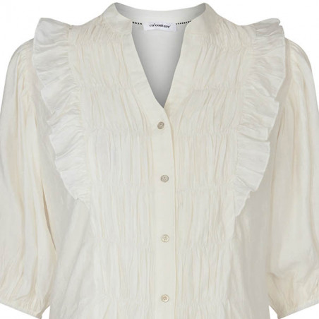 Co'Couture Bluse, Avery Smock, Off White, Co'couture Avery Smock Shirt, Skjorte, hvid skjorte, skjorte med smock - detalje