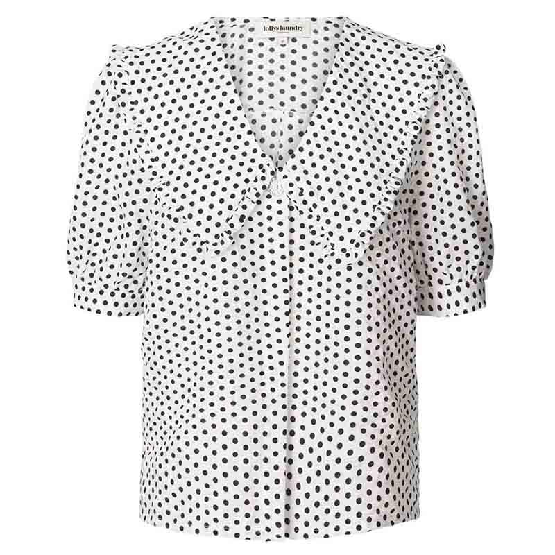 Lollys Laundry Skjorte, Axel, Creme, kortærmet skjorte, hvid skjorte, Lollys Laundry Axel Shirt