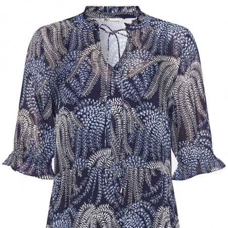 PBO Kjole, Molilly, Blue Multi, festkjole, sommerkjole, festtøj, hverdagskjole - tæt på
