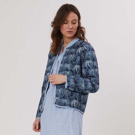 PBO Jakke, Howli Quilt, Blue Print, forårsjakke, sommerjakke, quiltet jakke - detalje