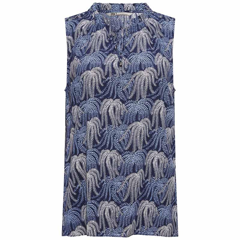 PBO Top, Everly, Blue Print, sommertop, bluse med korte ærmer