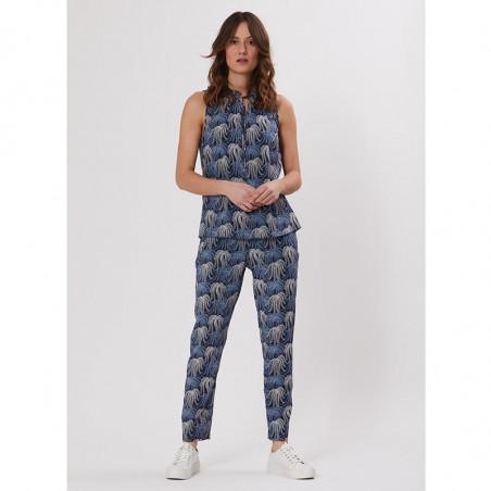 PBO Top, Everly, Blue Print, sommertop, bluse med korte ærmer - forside
