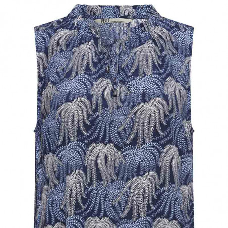 PBO Top, Everly, Blue Print, sommertop, bluse med korte ærmer - print
