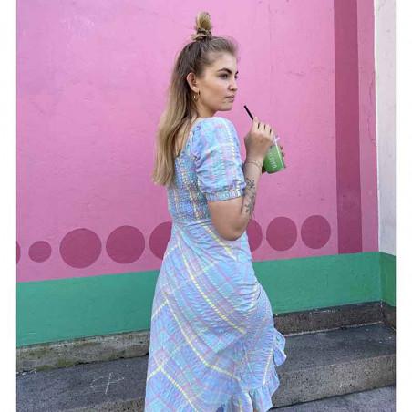 Nümph Kjole, Nuchecky, Vista Blue, numph kjole, numph tøj, sommerkjoler, festkjoler, hverdagskjoler - Model