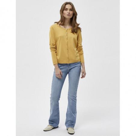 Minus Cardigan, New Laura, Cornbutter, ensfarvet cardigan - model front
