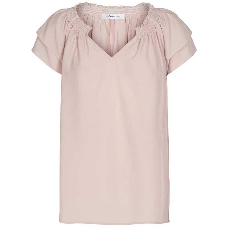 Co'Couture Bluse, Sunrise, Nude Rose, sommerbluse, sommertop, bluse med korte ærmer