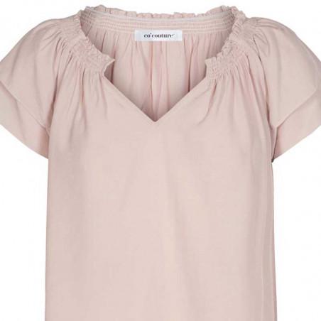 Co'Couture Bluse, Sunrise, Nude Rose, sommerbluse, sommertop, bluse med korte ærmer - tæt på