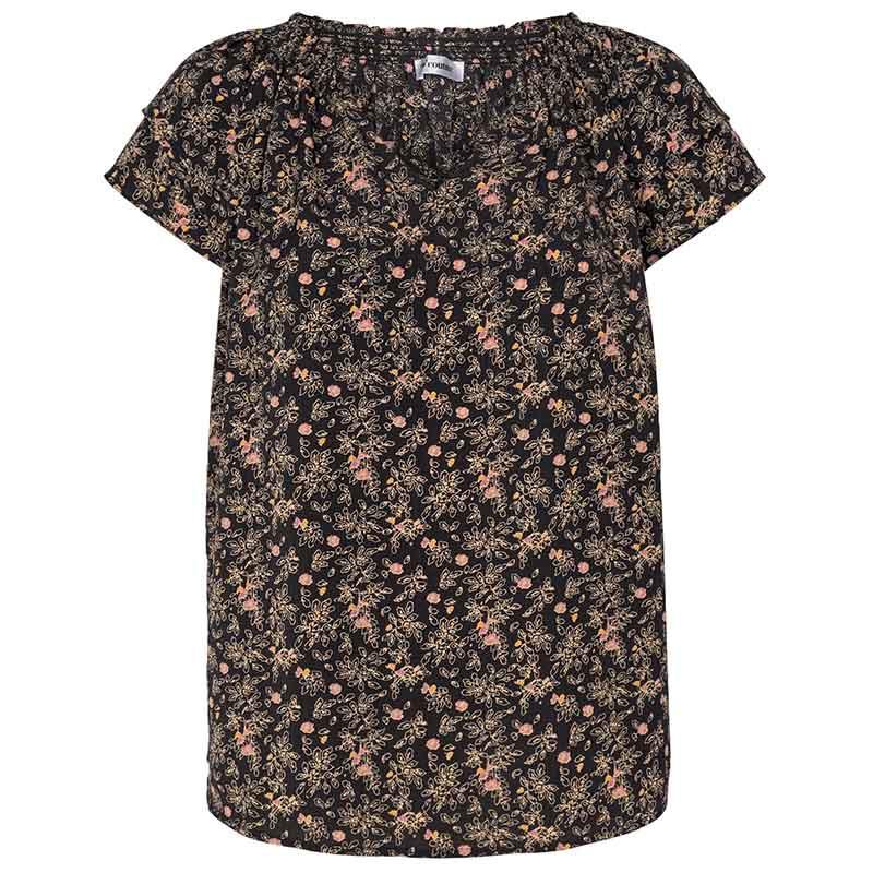 Co'Couture Bluse, Sunrise Ming, Black, sommertop, sommerbluse, bluse med korte ærmer