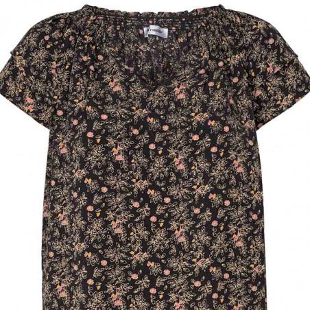 Co'Couture Bluse, Sunrise Ming, Black, sommertop, sommerbluse, bluse med korte ærmer - print