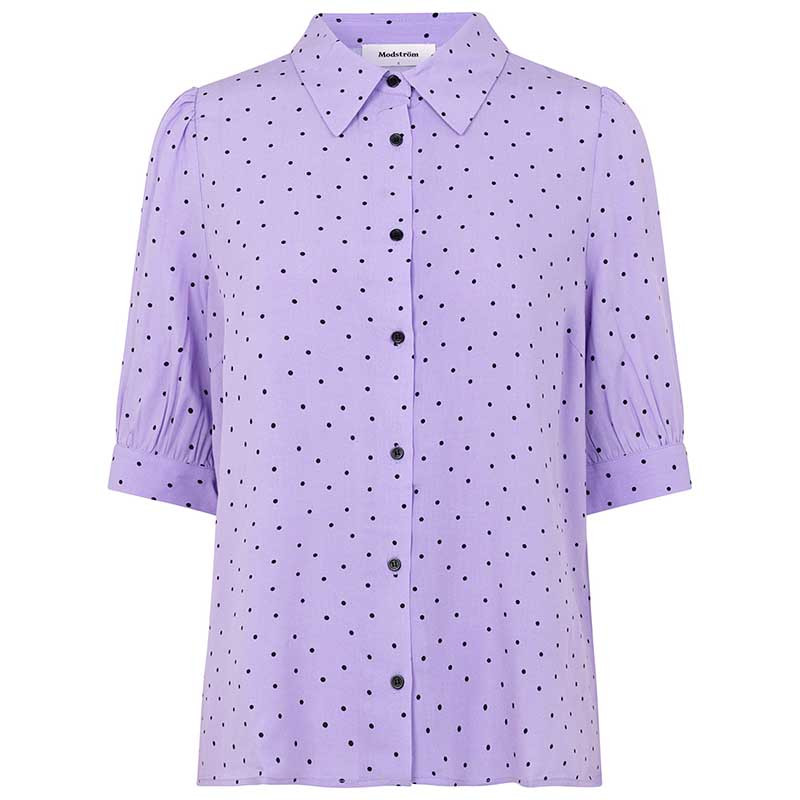 Modström Skjorte, Talle, Lavender Polka, Modström Talle Print Shirt, Lavneder Polka, Pastelfarvet skjorte