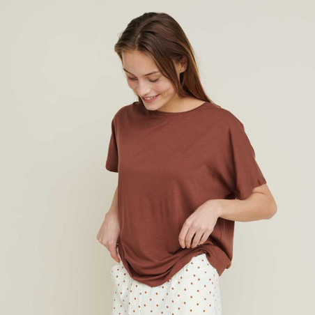 Basic Apparel T-shirt, Joline, Mink på model fra siden