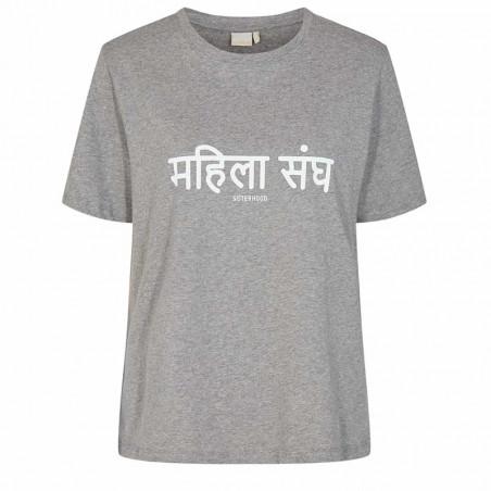 Nümph T-Shirt, Nusisterhood, Light Grey Melange, T-shirt i økologisk bomuld, numph tøj, numph t shirt