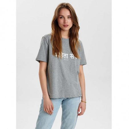 Nümph T-Shirt, Nusisterhood, Light Grey Melange, T-shirt i økologisk bomuld, numph tøj, numph t shirt - model front