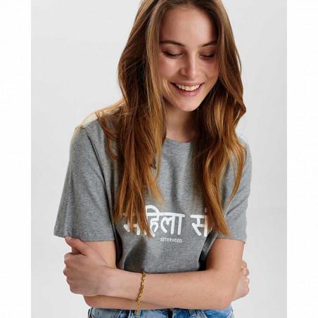 Nümph T-Shirt, Nusisterhood, Light Grey Melange, T-shirt i økologisk bomuld, numph tøj, numph t shirt - tæt på