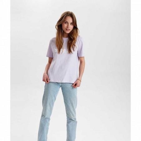 Nümph T-Shirt, Nusisterhood, Orchid Petal, numph tøj, økologisk bomuld - fulde model