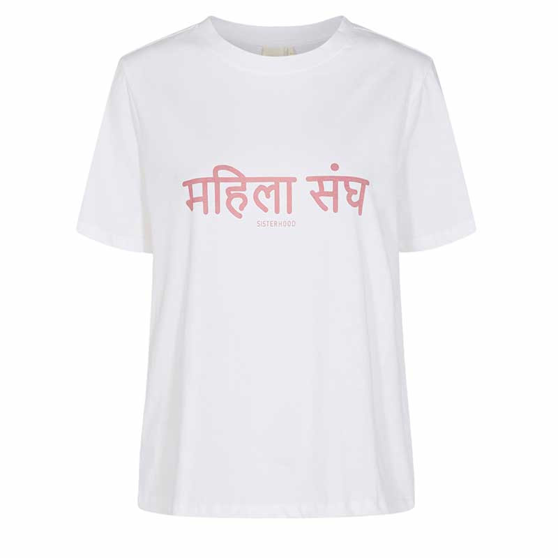 Nümph T-Shirt, Nusisterhood, Bright White, numph tøj, økologisk t-shirt, økologisk bomuld