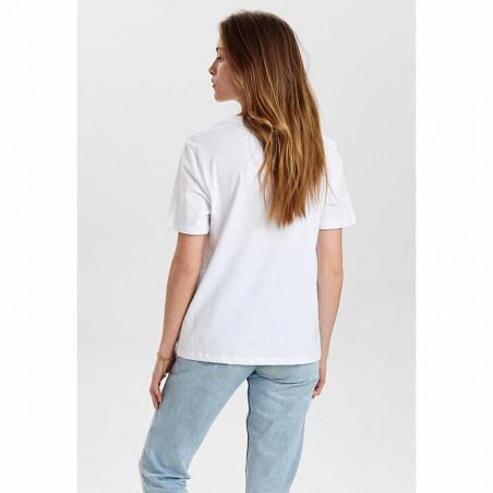 Nümph T-Shirt, Nusisterhood, Bright White, numph tøj, økologisk t-shirt, økologisk bomuld - bagside
