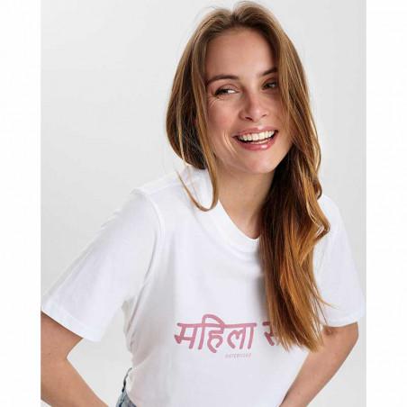 Nümph T-Shirt, Nusisterhood, Bright White, numph tøj, økologisk t-shirt, økologisk bomuld - model
