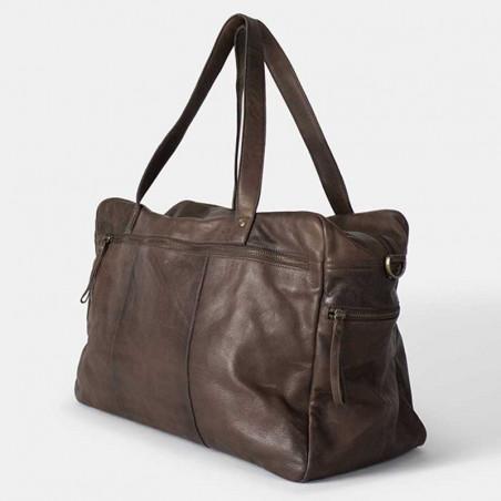 ReDesigned by Dixie Weekend Taske, Signe Urban, Brown Skindtaske Rejsetaske i skind set fra siden