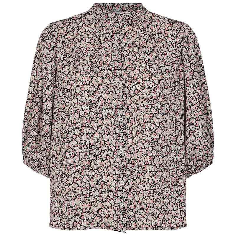 Co'Couture Bluse, Cecily Flower, Black, sommerbluse, bluse med korte ærmer, skjorte