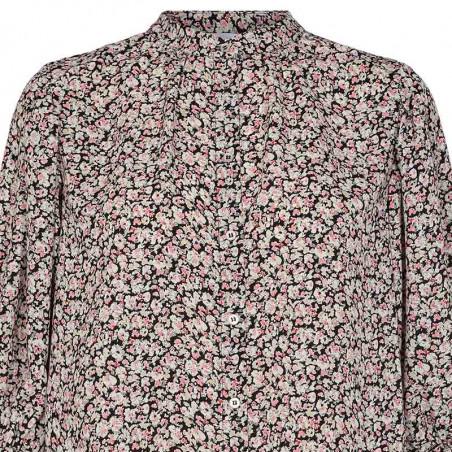 Co'Couture Bluse, Cecily Flower, Black, sommerbluse, bluse med korte ærmer, skjorte - tæt på