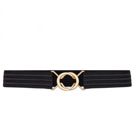 Co'Couture Bælte, Black Row Elastic, Black, bælte med elastik