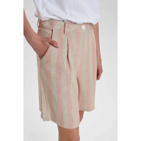 Nümph Shorts, Nucatelyn, Brazillian Sand, lange shorts, hør shorts - fra siden