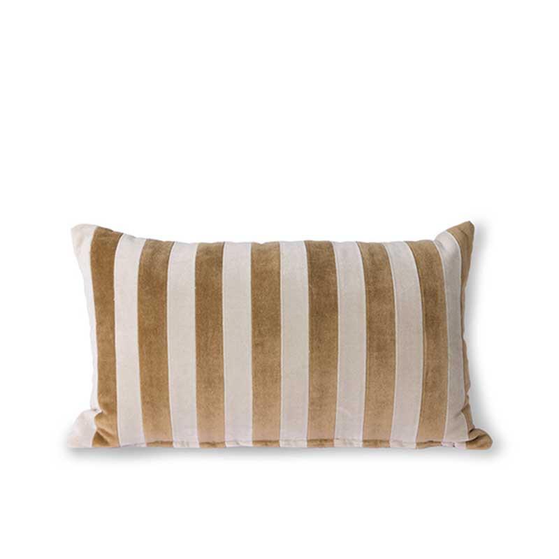 HK Living Pude, Striped Velvet Cushion 30x50, Brown/Natural Sofapude i velour