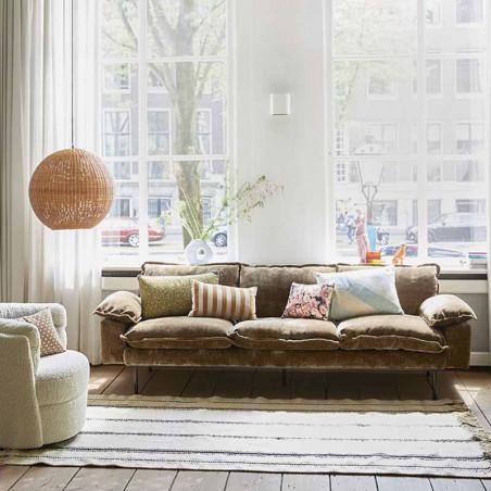 HK Living Pude, Striped Velvet Cushion 30x50, Brown/Natural Sofapude i velour interiør look
