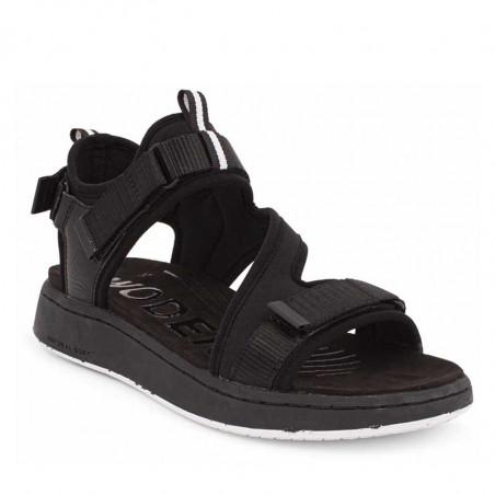 Woden Sandaler, Emilie, Beige, flade sandaler, sandaler med velcroremme, sandaler med komfort i sort