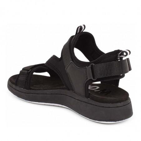 Woden Sandaler, Emilie, Beige, flade sandaler, sandaler med velcroremme, sandaler med komfort i sort bagfra