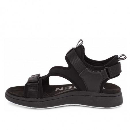 Woden Sandaler, Emilie, Beige, flade sandaler, sandaler med velcroremme, sandaler med komfort i sort fra siden